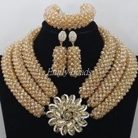 Gold Nigerian Crystal Beads Necklace Jewelry Sets Costume African Wedding Beads Jewelry Sets 2015 New Free Shipping AMJ964