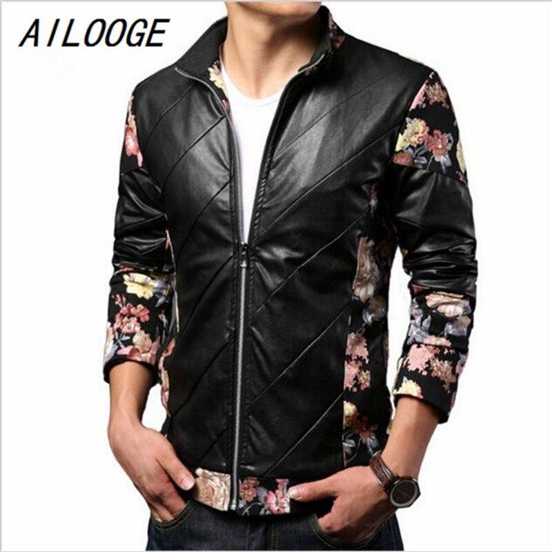 AILOOGE 2017 Мужчины PU Кожаные Куртки Европейский Цветочный Дизайн Jaqueta де couro, Весенняя Мода Jaqueta Couro Куртки Hombre