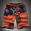 2016 Placa de Capri Esporte Flor Forma Vestido de Verão Praia Mens Truckfit Casual Shorts Da Carga Dos Homens Shorts Casual Plus Size 5XL 6XL