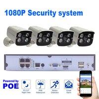 Home Surveillance IP Camera 4CH Set P2P Cloud Motion Detection HDMI Security System 4PCS 1080P POE