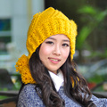 Hat female autumn and winter hat fashion knitted rabbit fur cap knitted hat warm hat ear cap protector
