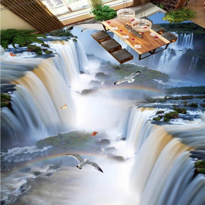 Free Shipping Cliff Falls Flying Bird Bathroom Kitchen Walkway 3D Floor Plaster wear non-slip living room wallpaper mural cliff нк 302 40