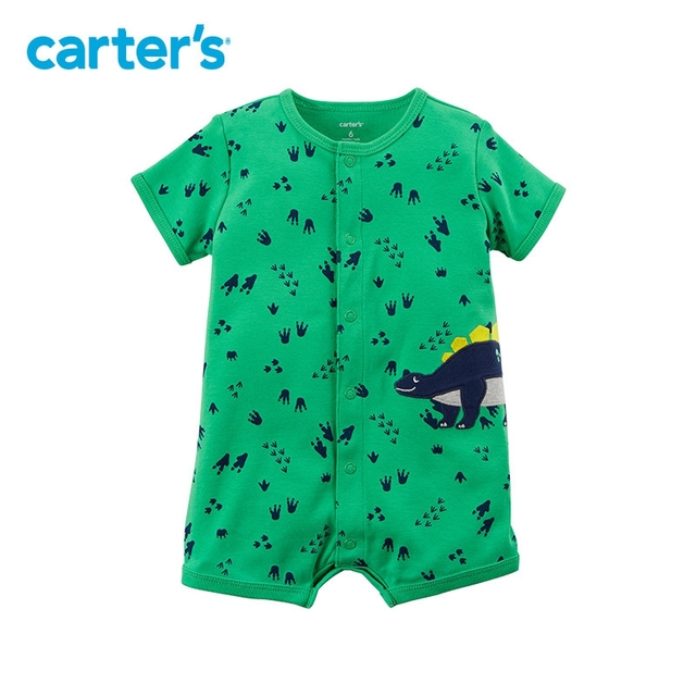 14901b9880f 1pcs sweet dinosaur footprints Snap-up Cotton Romper Carter s baby boy  Summer jumpsuits clothing 118H888
