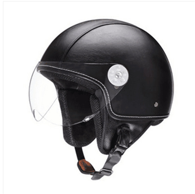 Vintage leather Motorcycle Helmet Open Face Jet Scooter ...