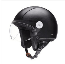 Vintage leather Motorcycle Helmet Open Face Jet Scooter Helmets Universal Retro Goggles For Harley