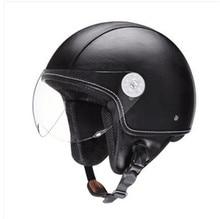 Vintage leather Motorcycle Helmet Open Face Jet Scooter Helmets Universal Retro Motorcycle Helmet Goggles For Harley недорого