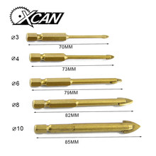 "5 Pieces Tungsten Carbide TCT Glass Drill Bits Set Titanium Coated Power Tools Accessories with 1/4"""" Hex Shank ""(China)"