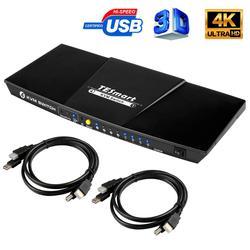 TESmart 4 Port USB HDMI KVM Switch 4x1 KVM interruptor HDMI soporte 3840*2160/4K * 2K puerto USB 2,0 con 2 uds 5ft Cables KVM