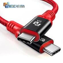 TIEGEM USB Loại C 3.1 Nam để Loại C Cable Nam USB C Điện Giao Hàng Nhanh Chóng Sạc PD Cáp cho macbook Pro Google Pixel 2 S8 S9