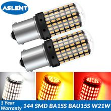 ASLENT 2X 1156 BA15S P21W BAU15S PY21W 1157 LED Bulbs 144 smd CanBus No Error T20 7440 W21W lamp For Turn Signal Light No Flash bulbs for turn signal light no flash 1156 1157 7440 7443 ba15s bau15s t20 led car lights canbus 3014 144 smd 12 24v