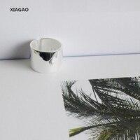XIAGAO Geniş 925 Gümüş Açık Halkalar Geniş Pürüzsüz Ayarlanabilir Parmak Ortak Yüzükler Moda Gümüş Takı CNR061