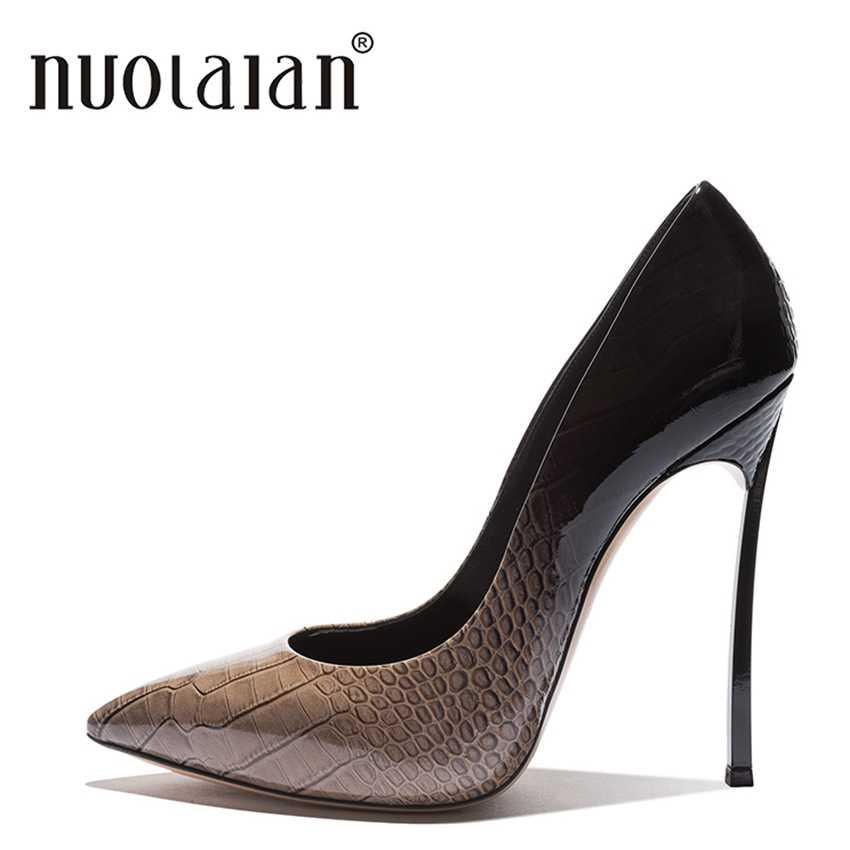 ブランドデザイン薄いハイヒール女性のためのドレスレディ高ヒールの靴女性パンプスセクシーな夏のパテントレザーサンダルオフィスレディース
