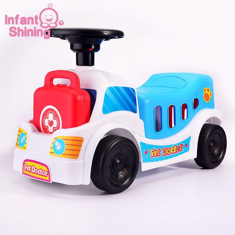 Infantile brillant bébé jouer voiture enfants équilibré bébé chariot multifonctionnel à quatre roues pour 2-4Y