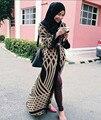 2016 Nuevos Musulmanes cardigan Señoras kaftan Dubai Malayo Turco de Prendas de vestir Ropa de Las Mujeres Maxi Vestido Largo cardigan Ropa de Abrigo Largo