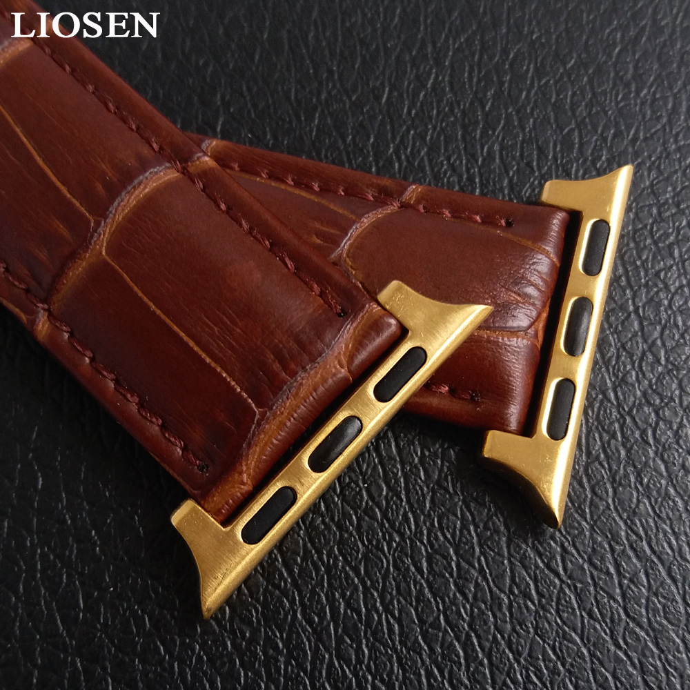 LIOSEN Watchband for iWatch Apple Watch 38mm 42mm Genuine Leather Strap Watch Accessories Bracelet Women Men in Watchbands from Watches