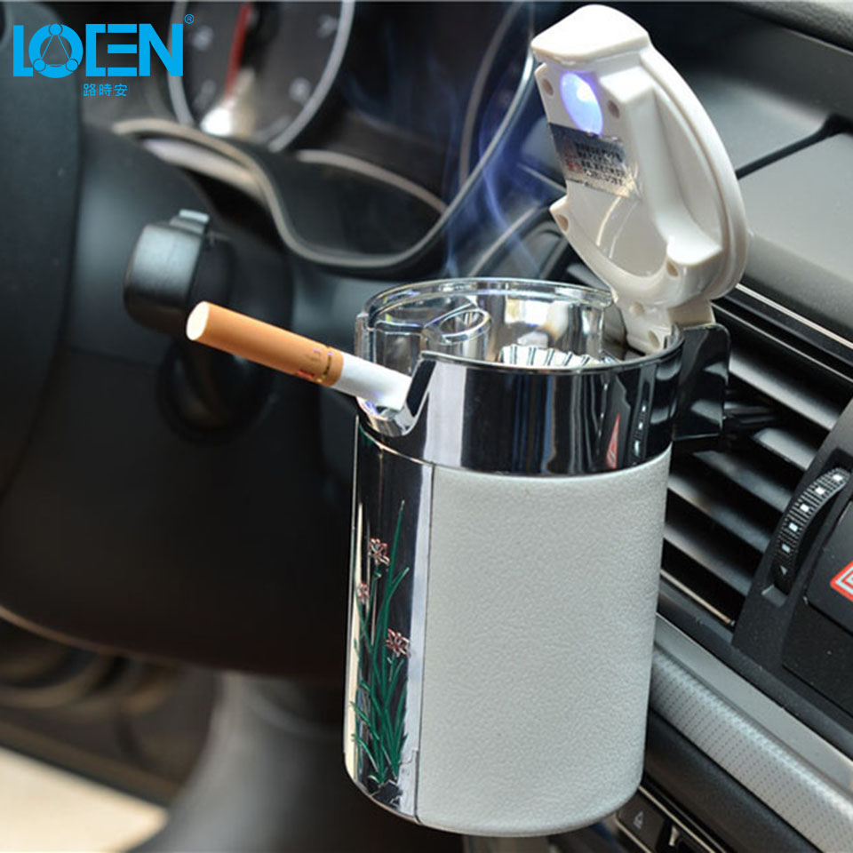 LOEN Special design Plum blossom pattern <font><b>Car</b></font> Cigarette Ashtray with Hooks lids Led Lights for Home office auto black white color