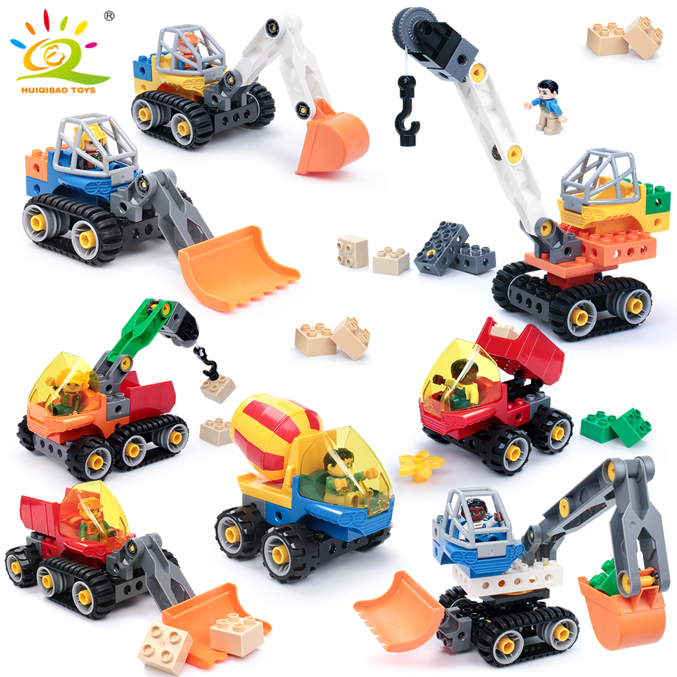 DIY Engineering Excavator Crane Big sizes Building Blocks Compatible Legoing Duploe City Construction Vehicles Toys For Children engineering excavator vehicles bulldozer model building blocks compatible legoed city construction enlighten bricks children toy