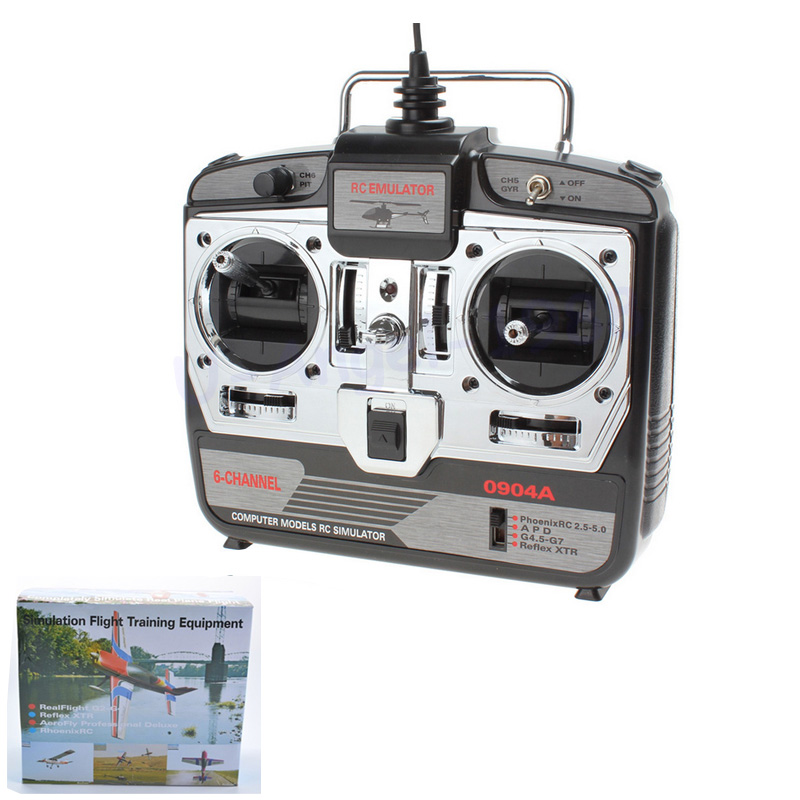 6CH RC simulador de vuelo JTL-0904A apoyo Realflight G7 Phoenix 5,0 XTR helicóptero de control remoto fijo-ala Drone (MODE2)