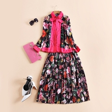Fashion women bow butterfly collar tops shirts + animal patterns print pleated skirt suit two piece set new 2016 autumn brand