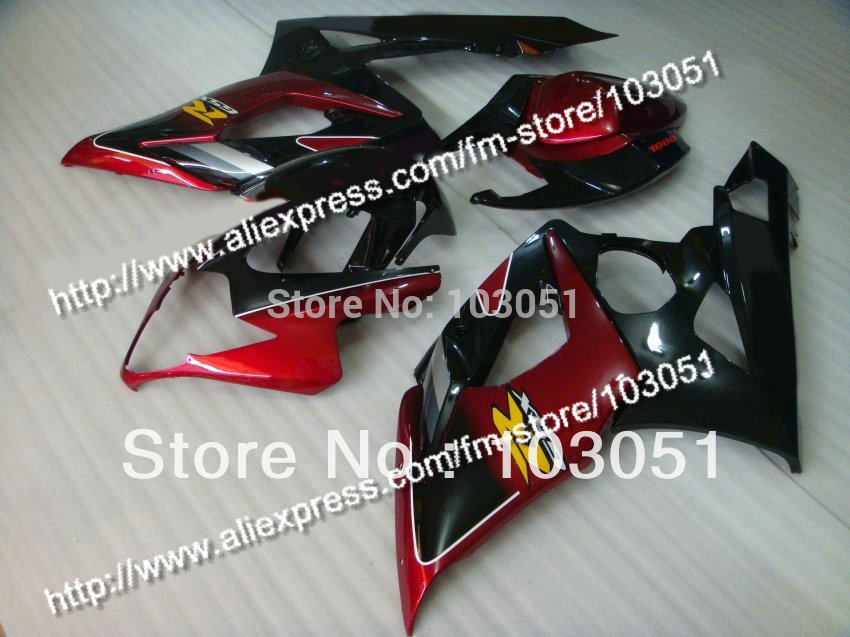 Injection mold custom for 2005 suzuki gsxr 1000 fairings K5 2006 GSXR 1000 fairing 05 06 glossy dull red with black Dw10 custom road fairing kits for suzuki glossy flat black 2006 gsxr 1000 k5 2005 gsx r1000 06 05 motorcycle fairings kit