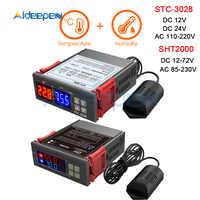 AC 110V 220V 12V 24V Dual Digital Temperatur Feuchtigkeit Controller SHT2000 STC-3028 Thermostat Hygrostat Therometer Hygrometer