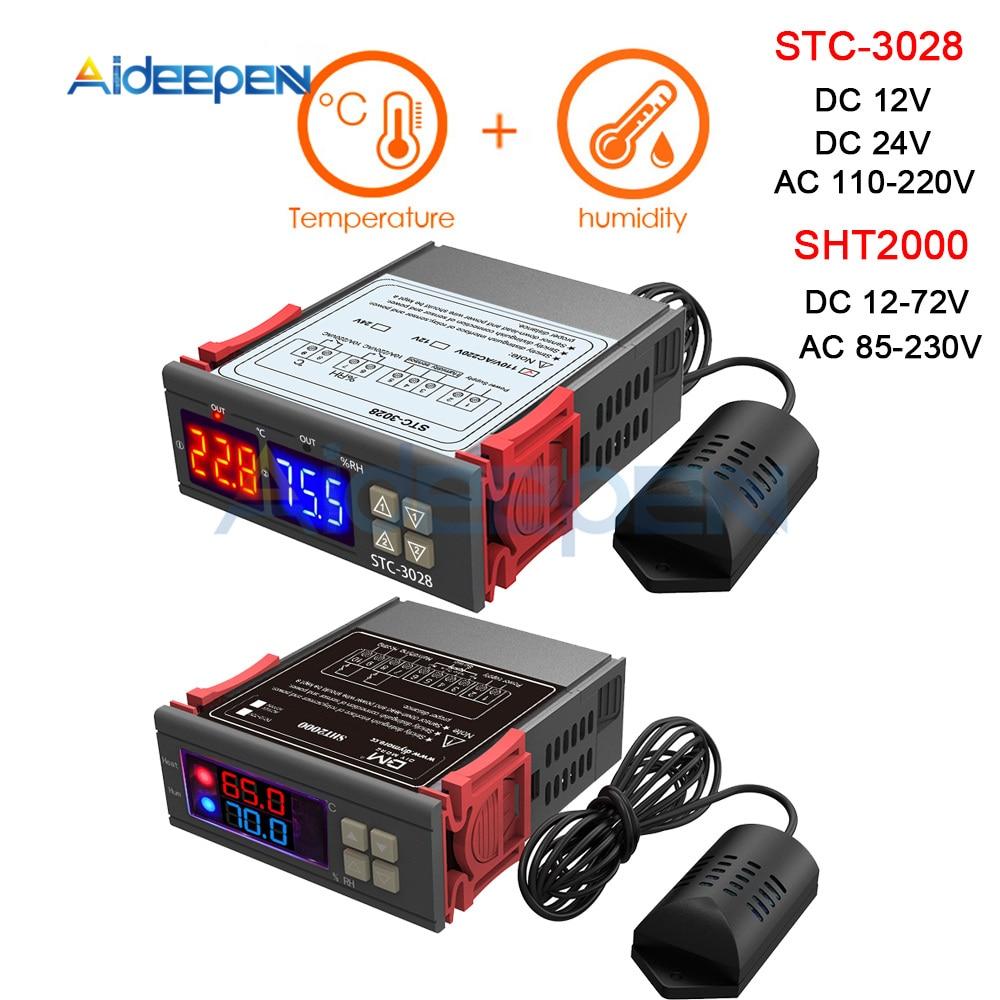 AC 110V 220V 12V 24V Dual Digital Temperature Humidity Controller SHT2000 STC-3028 Thermostat Humidistat Therometer HygrometerAC 110V 220V 12V 24V Dual Digital Temperature Humidity Controller SHT2000 STC-3028 Thermostat Humidistat Therometer Hygrometer