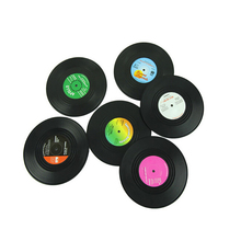 fashion 6 PCS Environmental Plastic Vinyl Record Table Placemats Simple and Creative Mug Coaster Heat-resistant Cup Coasters