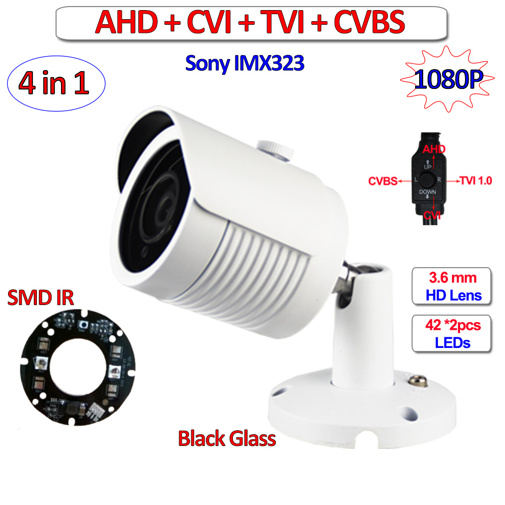4in1 1080P 720P AHD TVI CVI cctv camera outdoor IMX323 1MP 2MP Night Vision security camera, CVBS, UTC, 3DNR, OSD, 3.6mm Lens hd ahd cvi tvi cvbs bullet camera with alarm speaker waterproof ip67 hd 1080p 4 in 1 security camera outdoor night vision ir 20m