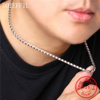 2019 Men 925 Silver Necklace Classic Domineering 100% Sterling Silver 4mm 50cm Chain Necklace Men's Jewelry