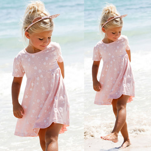 2016 New Baby Girls Dress Summer Short Sleeve Cotton Princess Dresses for Toddle Kid Girl