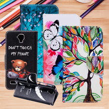 For Huawei Y5 Y560 4.5″ Flip Stand Magnetic Card Slot Wallet PU Leather Phone Case Painted Cartoon Flower Plastic Back Cover Bag