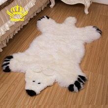 КОРОНА Натуральные австралийские овчинные напольные коврики для гостиной Детские волосатый Нескользящий мех медведя