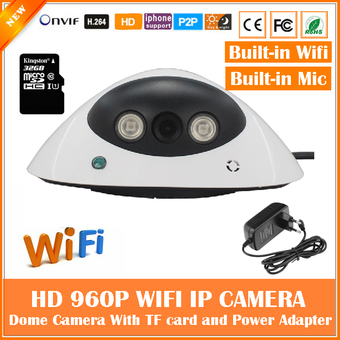 960P Dome IP Camera Wifi 1.3mp Motion Detection with SD Card Mini White CCTV Surveillance Security Built-in MIC Freeshipping hd 960p bullet ip camera wifi motion detection outdoor waterproof mini card black cctv surveillance security freeshipping