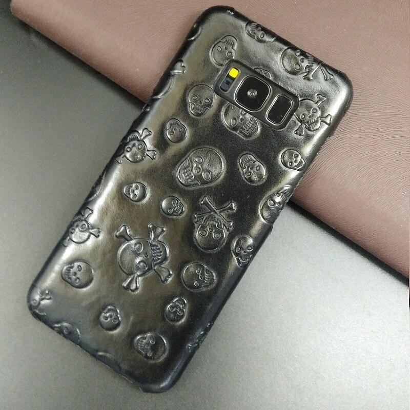 imágenes para Solque Caja Del Cuero Genuino Para Samsung Galaxy S8 Plus S 8 S8Plus Teléfono Celular de Lujo Delgado Hard Shell Cubierta Casos 3D Cráneo patrón