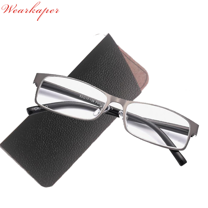 WEARKAPER Titanium Alloy Retro Reading Glasses Men Anti-fatigue Stainless Steel Spring Hinges Frame Glasses Gafas De Lectura