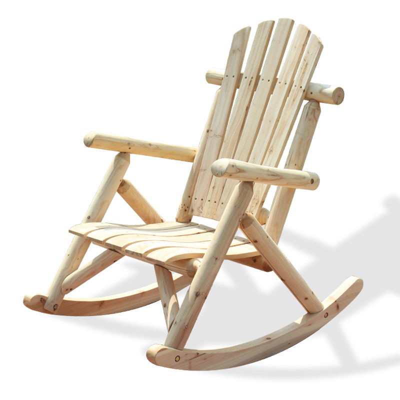 Outdoor Patio Adirondack Wood Bench Chair Rocking Chair Contemporary Solid  Wood Log Deck Garden Furniture Single Rocker Chair In Beach Chairs From  Furniture ...