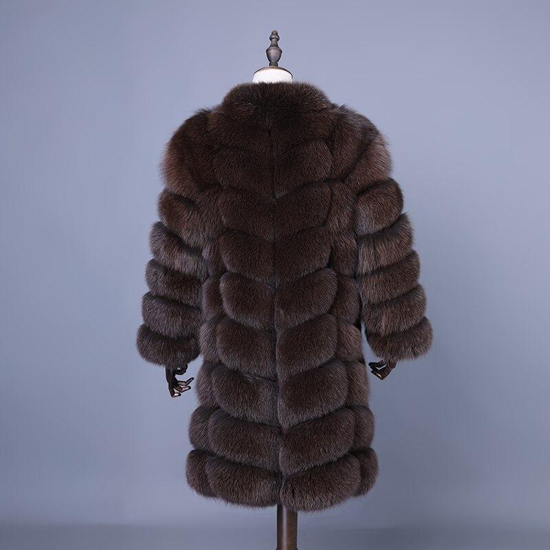 Renard Pour Manteau Fourrure Mince Réel Filles Chaud Dames Véritable Survêtement 2018 Veste De D'hiver Femelle Marron Vêtements Long Femmes Gilet AqfxEZtw