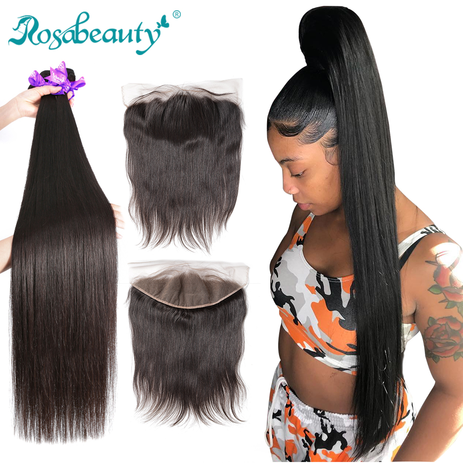 Rosabeauty Straight Bundles With Lace Frontal Brazilian Human Hair Bundles With Closure Frontal 28 30 inch Remy Hair Extensions(China)