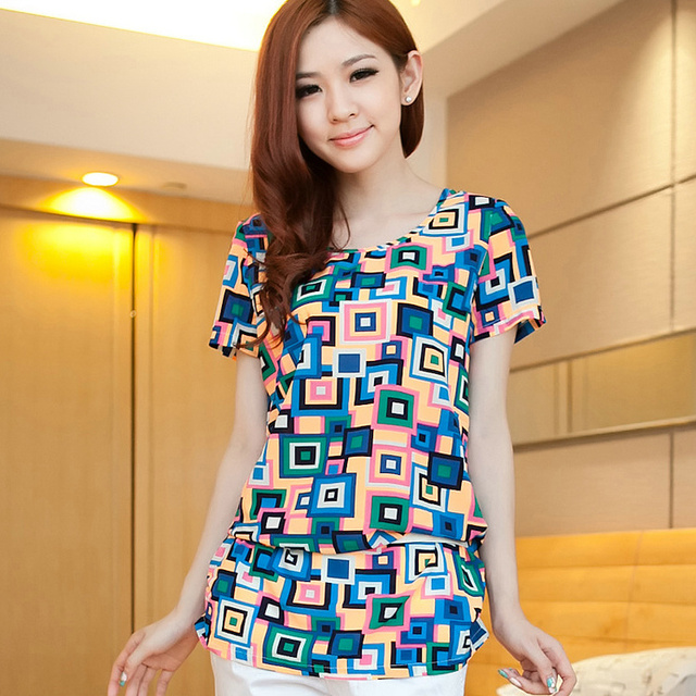 2013 summer women's plaid medium-long chiffon shirt short-sleeve