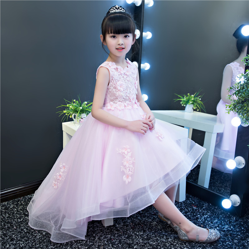 Girls Clothing Roupa De Menina Vetidos Girls Wedding Dress Fashion Flower Gown Irregular Baptism Dress for Baby Girl  4T-12T