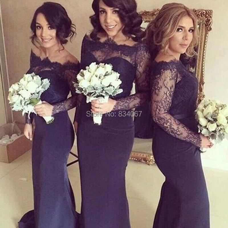 Azul marino oscuro azul de encaje de manga larga vestidos de dama de ...
