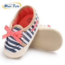 Mother Kids Baby Shoes First Walkers For Striped Girl Boy Spring Soft Sole Toddler with Bow