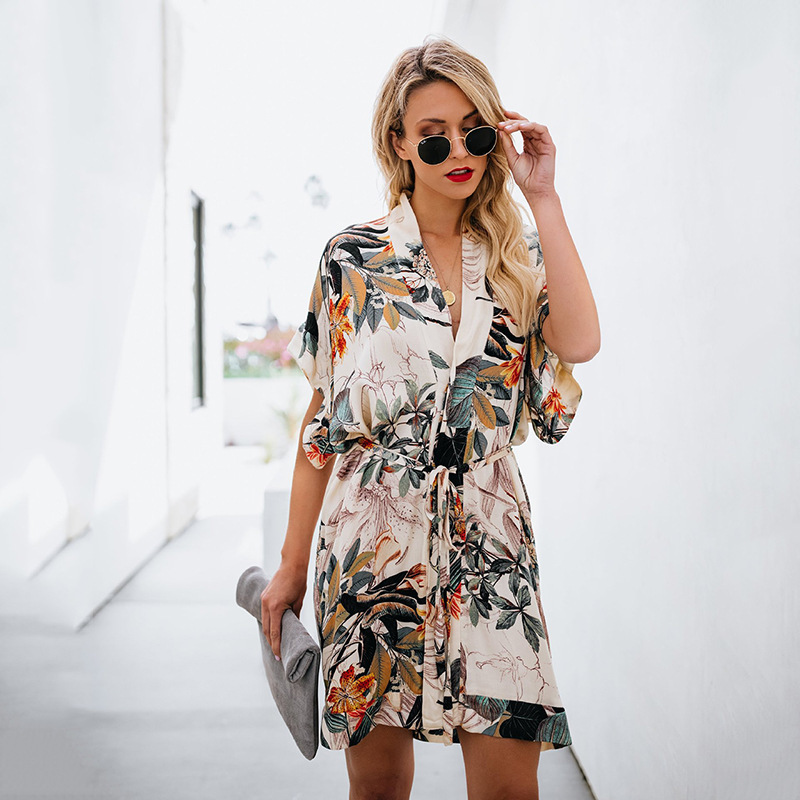 Swimsuit Cover Up Beach Tunics Tunic For The Exit Of Bathroom Women Kaftan New Print Neck Dress Undertakes Cakes Linen Sierra