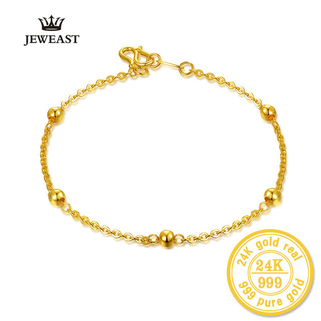 XXX BBB 24k Pure Gold Bracelet Lady Women Genuine Real Solid Bangle Smooth Bead Woman Girl Gift Fine Jewelry 2017 New Top Party