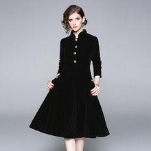 2018 Fall Winter New Velvet Temperament Commuter Vertical Collar Long-sleeved Trim Dress Swagger Dresses vestidos