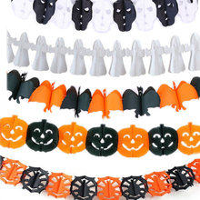 Spinne Kürbis Scary Hexe Garland Halloween Papier Spukhaus Prop Weihnachten Papier Garland Baum Haus Party Dekorationen(China)