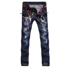 Men's Clothing Famous Brand Painting Straight Jean Meth Cotton Designer Denim Pants Men Regular Ripped Holes Motorcycle Jeans