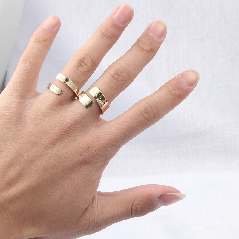 DUOYING Custom Name Ring Personalized Letter Ring Gold ...
