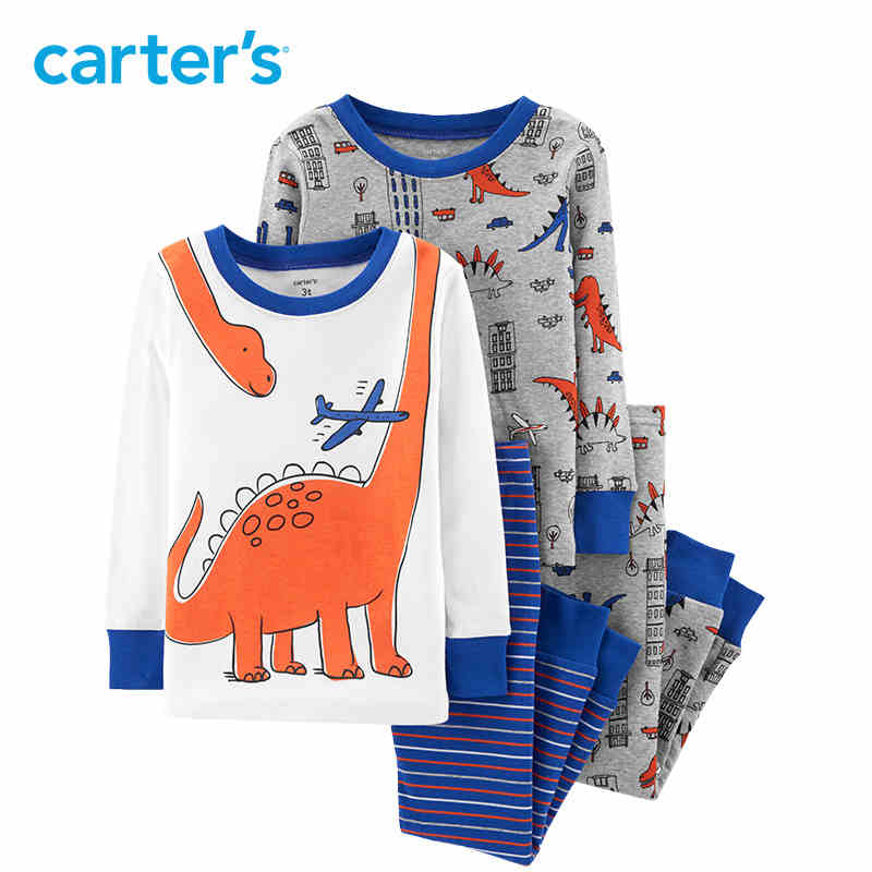 Carter's 4-Piece Dinosaur Snug Fit Cotton PJs Autumn winter cotton soft long sleeve pullovers boys clothes set 24959027 carter s 4 piece bunny snug fit cotton pjs cute rabbit print long sleeve girls clothes set toddler girls clothing set 24062023