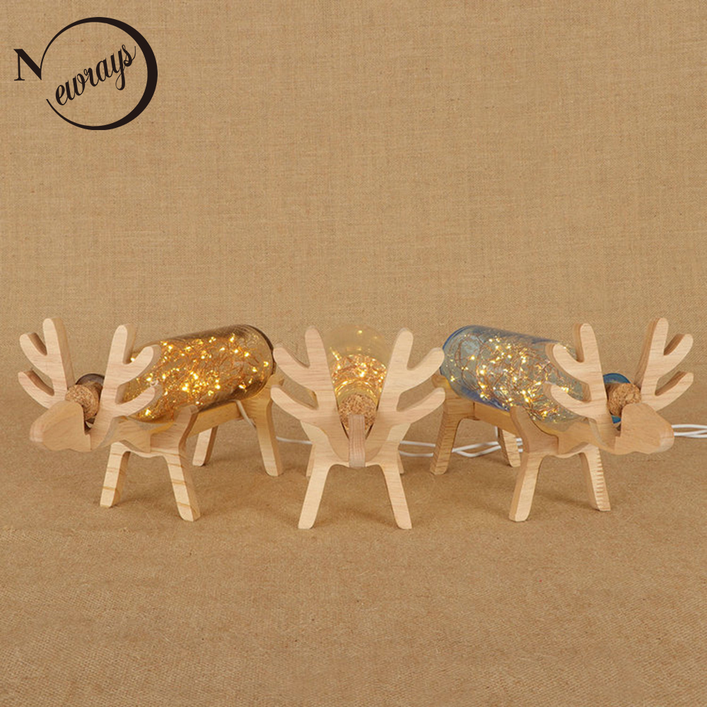 Art deco modern wooden&glass table lamp creative deer shaped desk lamp LED with 3 colors for home bedroom restaurant cafe office